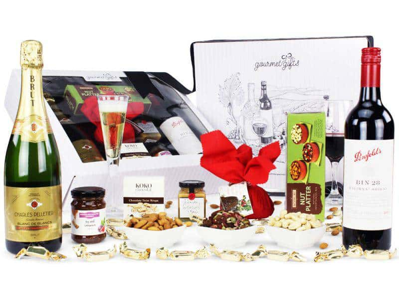 Image of the Penfolds 28 & French Sparkling Christmas Hamper and all it's contents