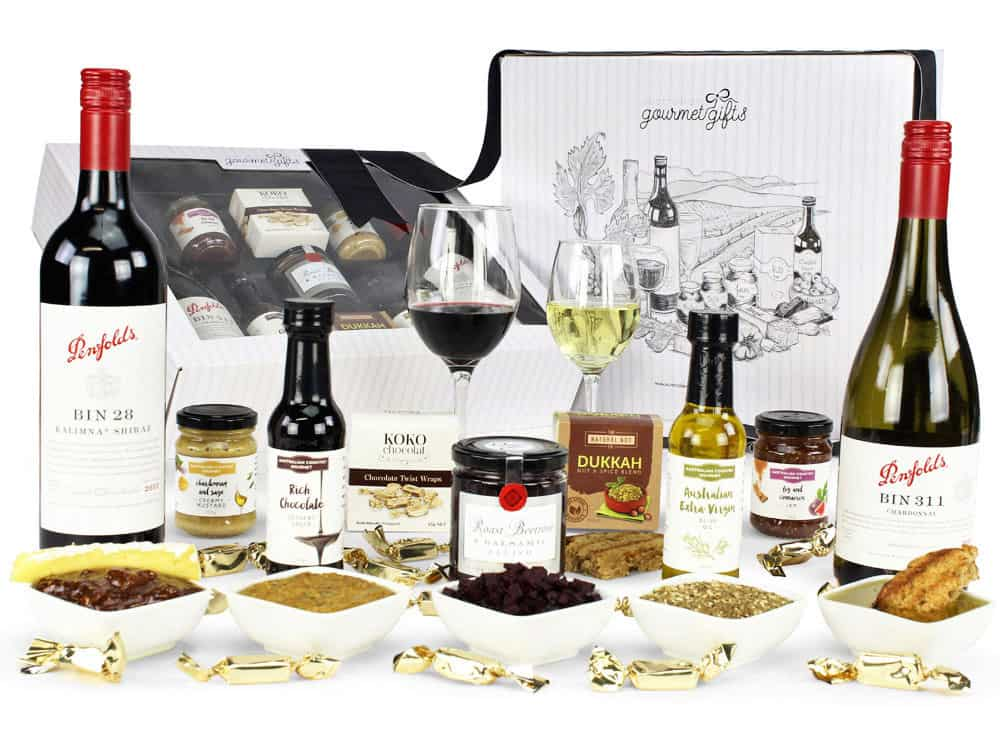 Image of the Pure Indulgence Penfolds Hamper and all its contents.